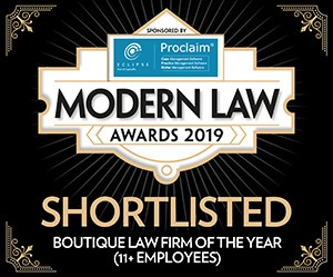 Modern Law Awards 2019 - Shortlisted Boutique Law Firm of the Year